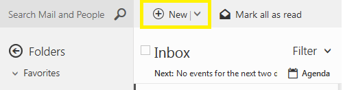Option New located above list of email senders