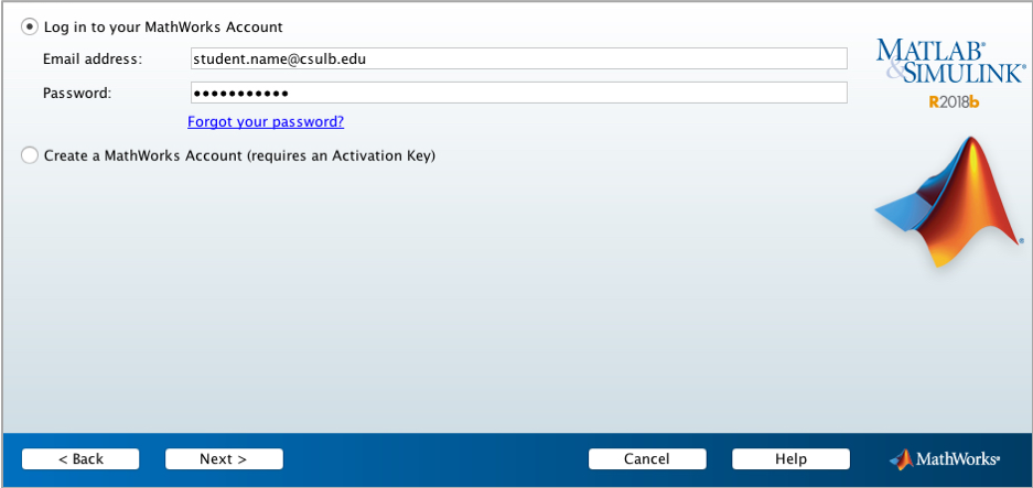 view of screen asking for Mathworks email address and password