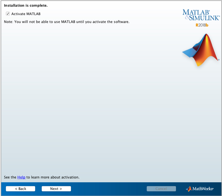 view of screen for activating Matlab after installation