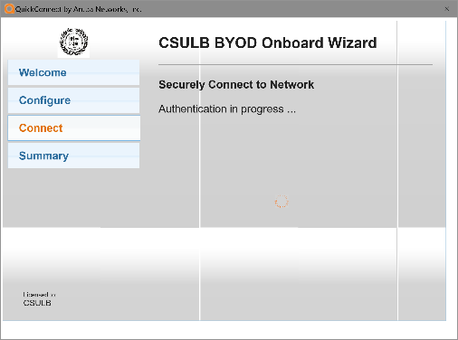 Securely Connecting to Network window