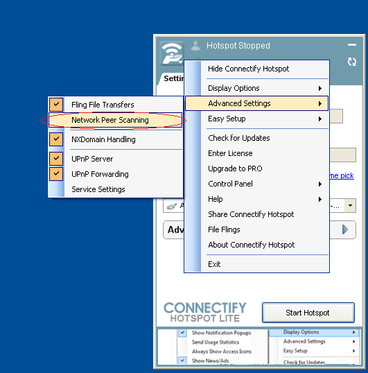 screenshot of the Connectify menu leading to the advanced settings