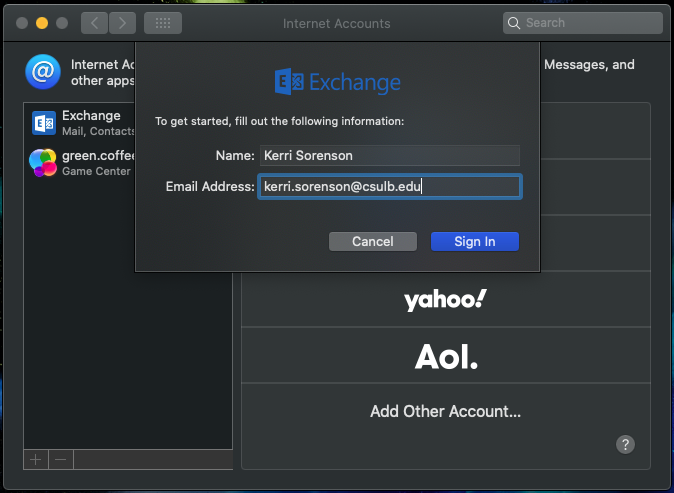 Add internet account dialog