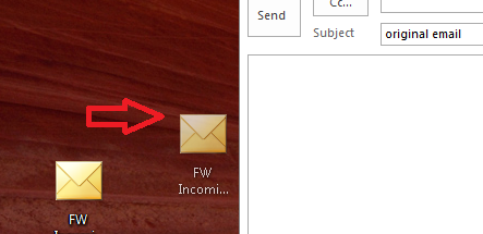 image showing dragging the file to the newly composed email