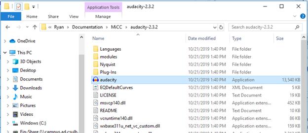 Windows File Explorer window showing the Audacity.exe file