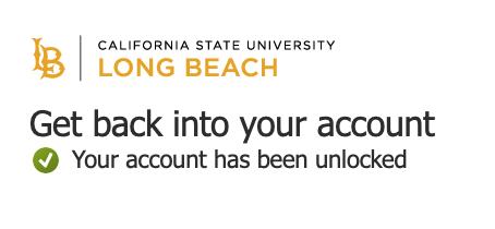 Window showing that account has been unlocked