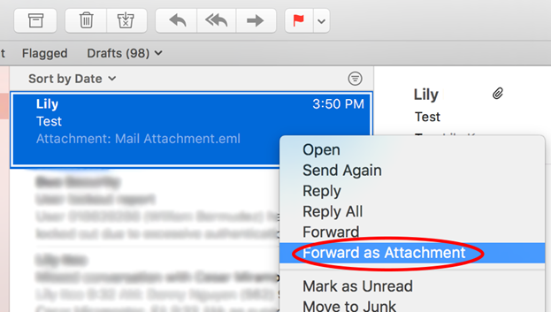 screenshot in Mac Mail showing the selection to forward as attachment