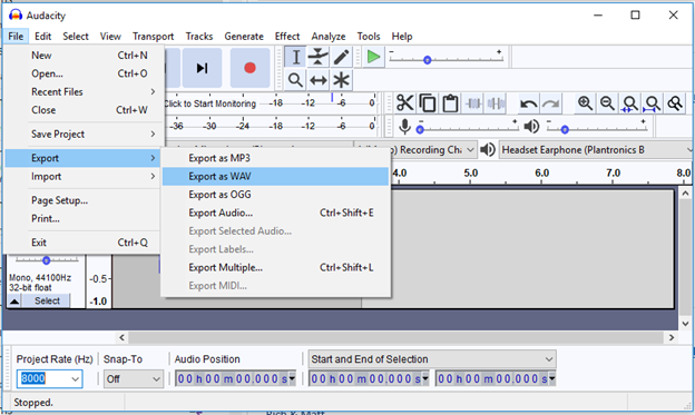 Audacity player and recorder interface showing export selections