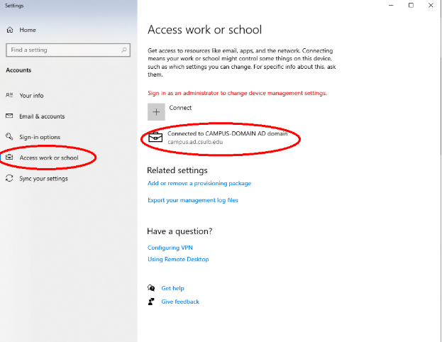 Desktop setting showing Access work or school option and Connected to CAMPUS-DOMAIN setting