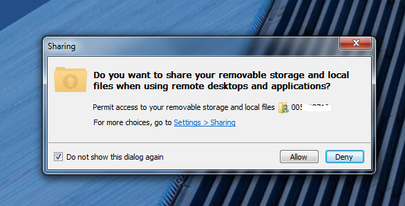 Removable storage and local files sharing dialog box