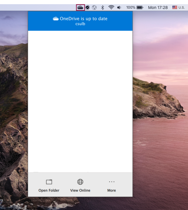 OneDrive icon found on the toolbar