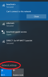 Wifi doc listening available networks and network settings