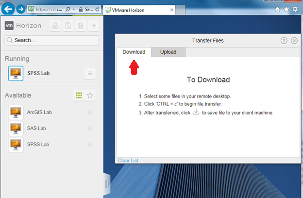 showing the Transfer Files download option