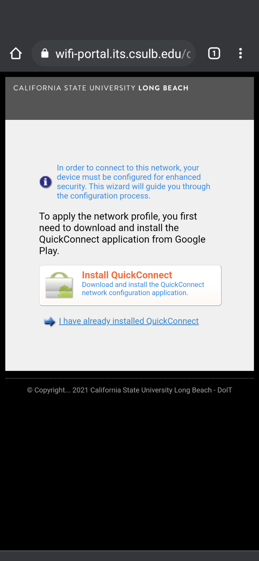 install quick connect page
