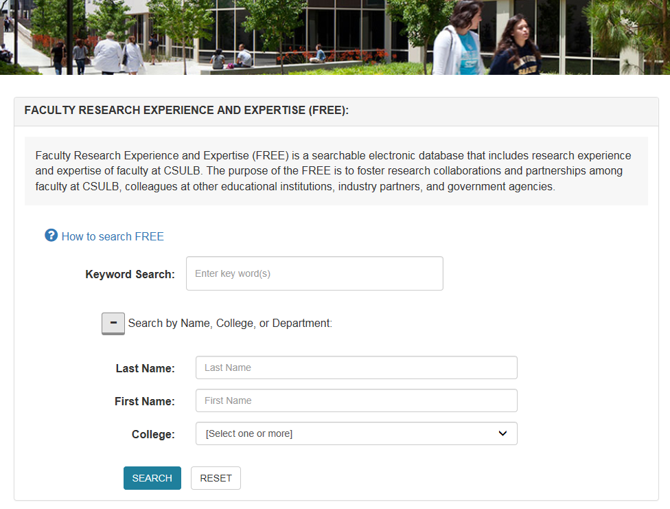 FREE system landing page expanded to expose Last Name, First Name, and College/Department search fields