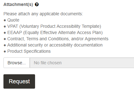 the attachments section at the bottom of the form