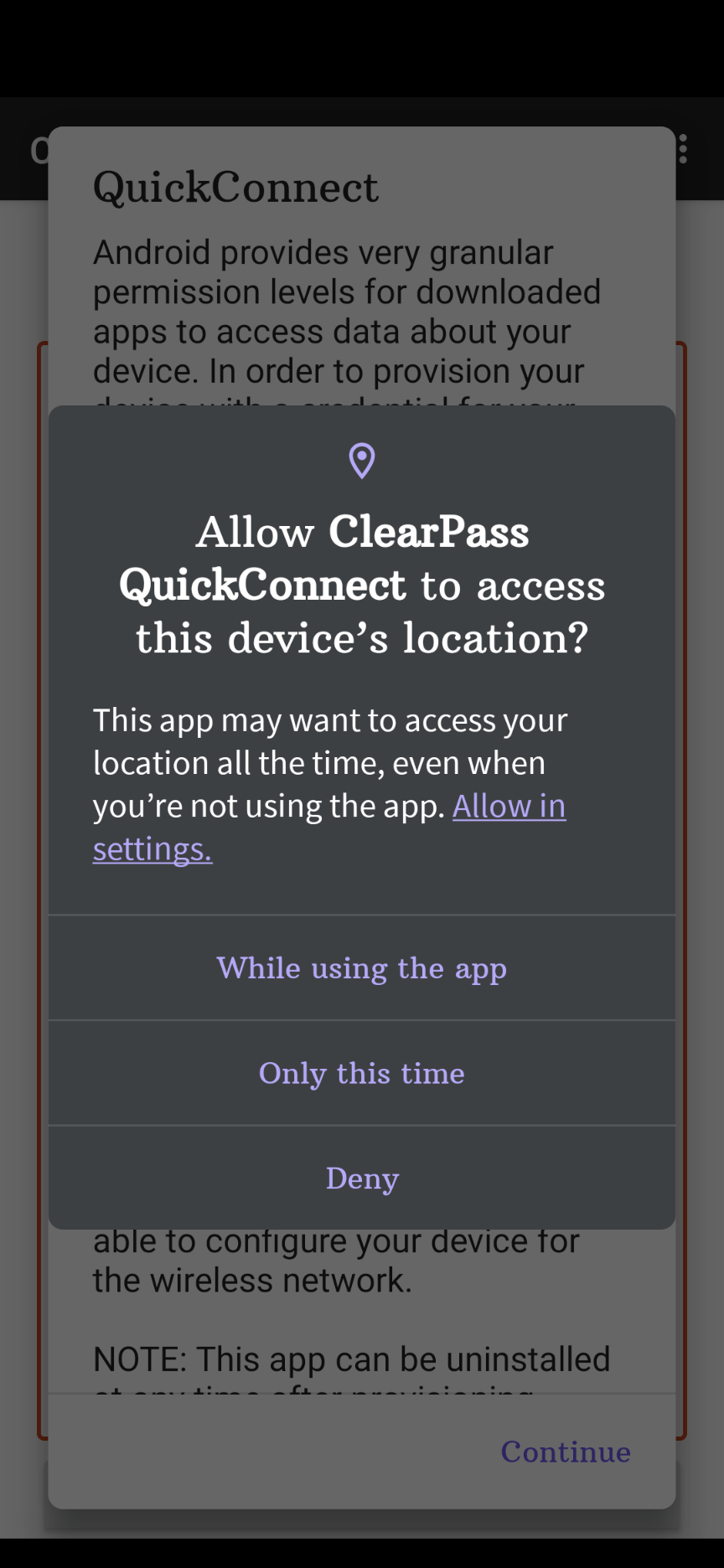 page asking to allow quick connect to allow location