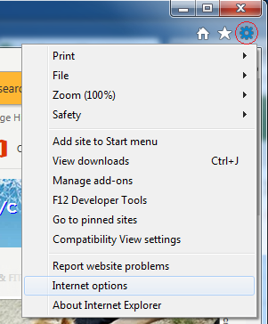 Internet Explorer Tools Menu