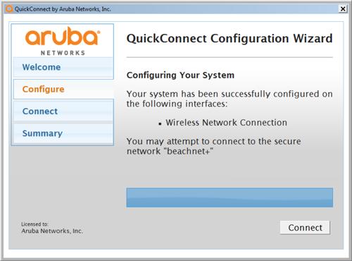Aruba Quick Connect Wizard continued