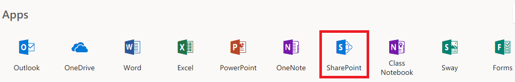 Image of Apps in Office 365 with emphasis on the SharePoint icon