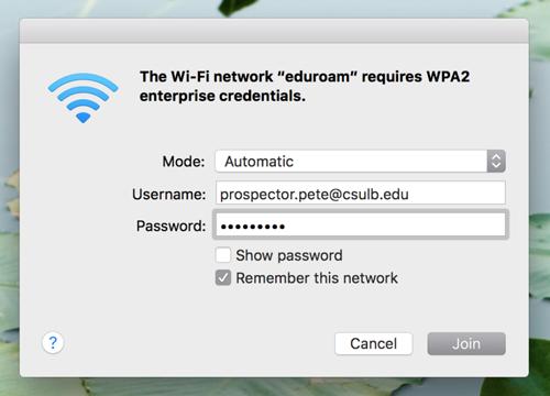 screenshot of sample username and password entered