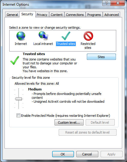 Internet Explorer Internet Options and Security Setting
