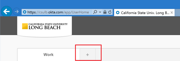 """SSO Screen with the """"+"""" sign highlighted within a red box"""