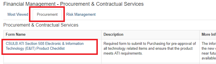 Shows the Financial Management Procurement and Contractual Services section of the Forms site highlighting the Electronic and Information Technology (E&IT) checklist