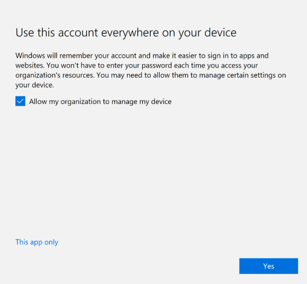 Windows tab asking user permission to use this account everywhere on your device