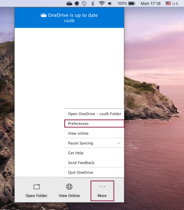 OneDrive options to click on More and Preferences