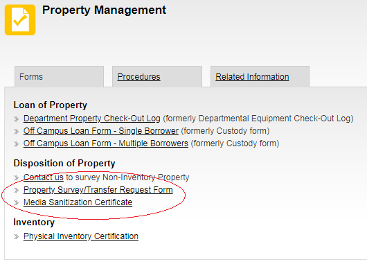 Media Sanitization Certificate link within sub-categories of Property Management Forms page