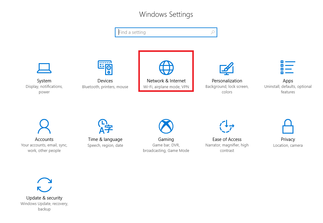 Windows 10 Settings window with Network & Internet option call out