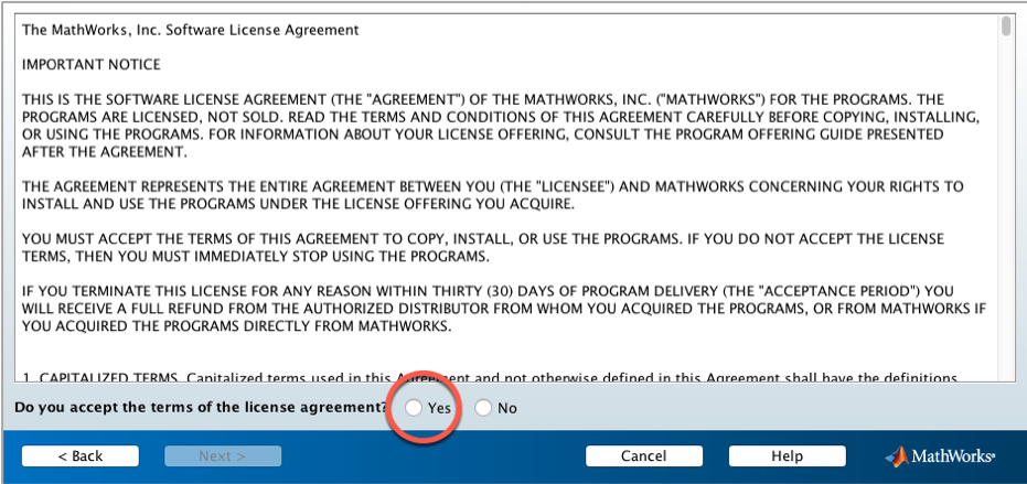 View of screen showing license agreement