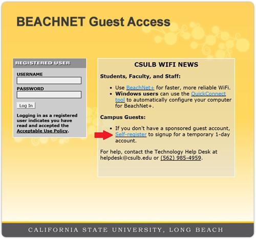 Screenshot of the beachnet-guest-access campus login page.
