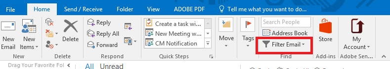 Outlook banner showing where the Filter Email option is located