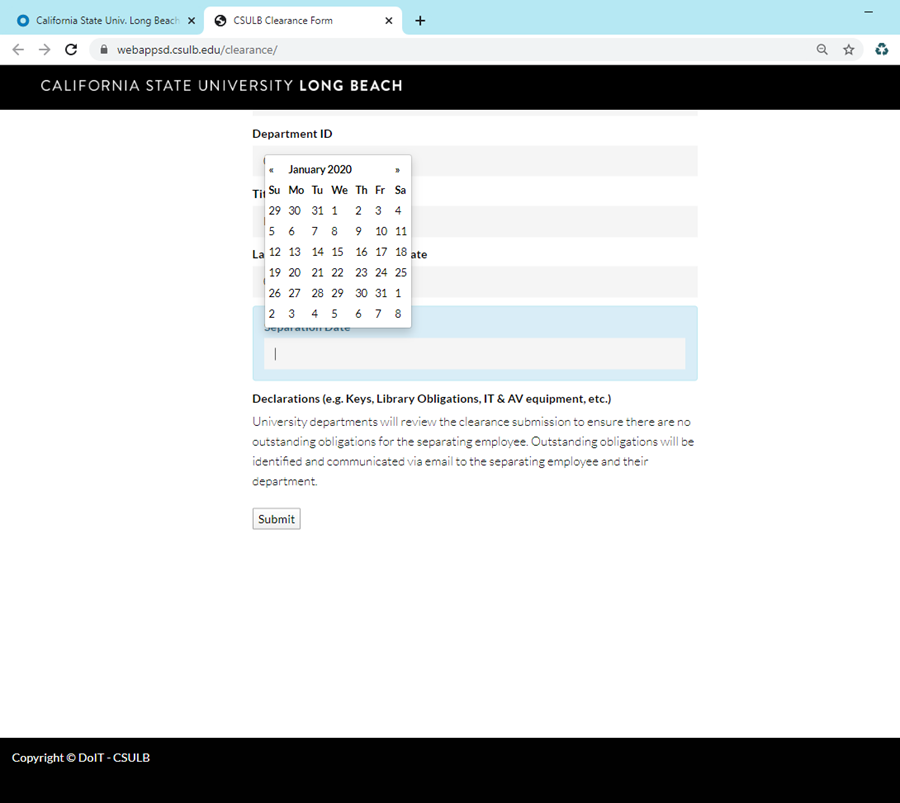 Clearance Page Separation Date