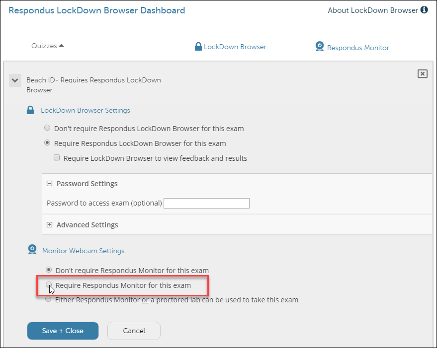 LockDown Browser Dashboard with call-out to Enabling Respondus Monitor