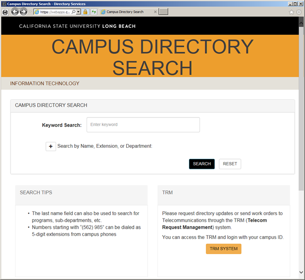 Screenshot of the online Campus Directory Search page