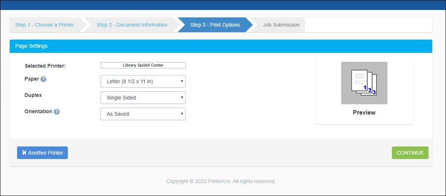 PrinterOn Step 3 - Page Settings Options