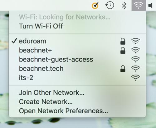 screenshot of eduroam network with check mark