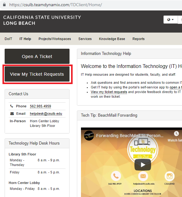 Screenshot of the IT Help homepage showing the View My Ticket Requests button