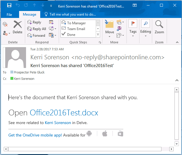 Adding email to share document