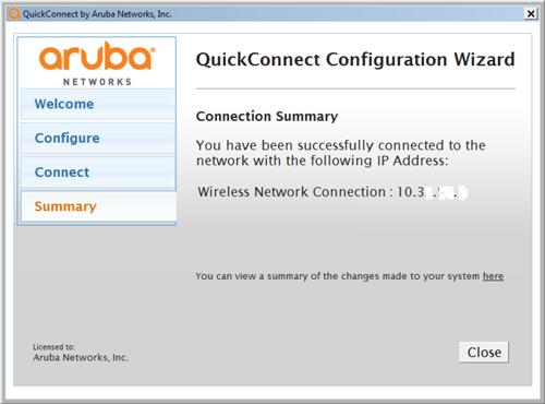 Aruba QuickConnect Wizard Summary page