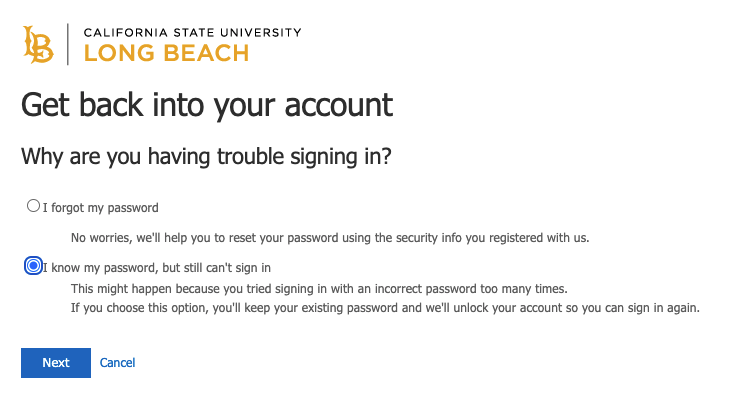 Password service window asking why are you having trouble signing in