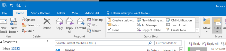 Screenshot of Rules in Outlook client
