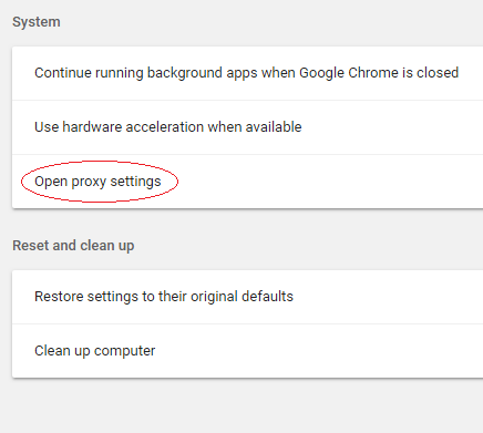 Chrome System options within Settings