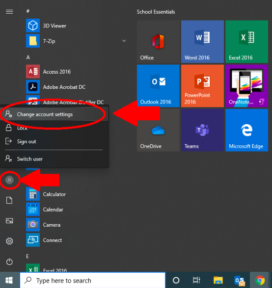 "Desktop view showing Windows button and ""Change account settings"" option"""