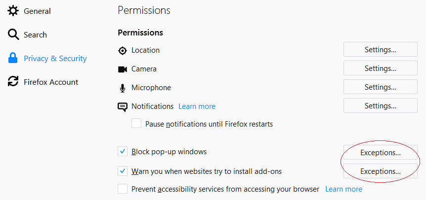Firefox Privacy and Security Settings and Permissions
