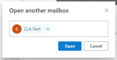 Open another mailbox dialog box showing an example of a typed shared mailbox
