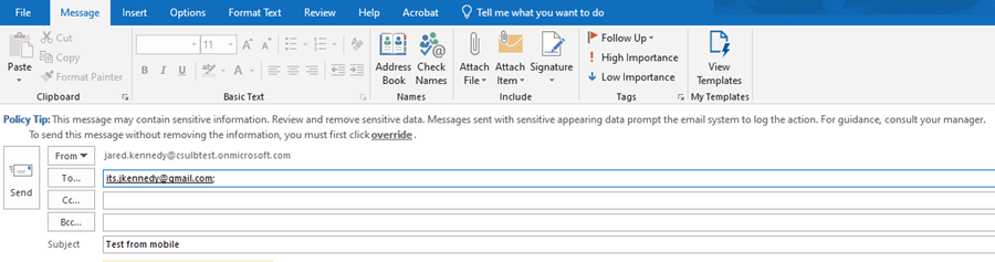 Display of the Policy Tip as it appears on the desktop Outlook client email application