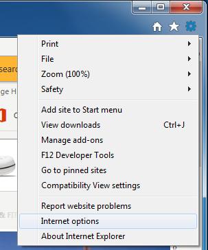 Internet Explorer's tools menu
